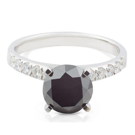 Black and White Diamond Pave Ring in 18 Karat White Gold