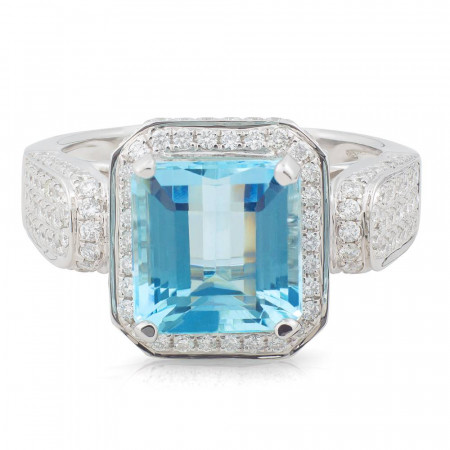 Emerald Cut Aquamarine Diamond Ring in 18 Karat White Gold