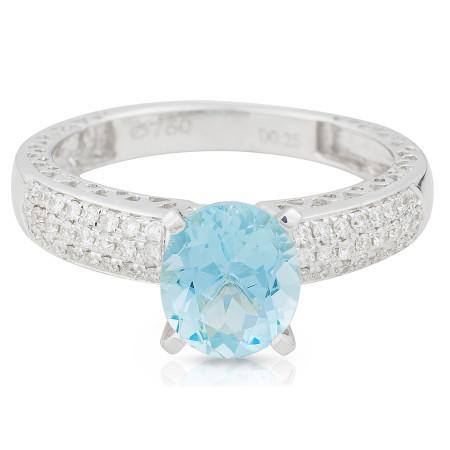 Aquamarine Diamond Ring in 18 Karat White Gold