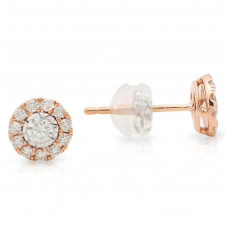 Halo Diamond stud Earring in 18 Karat White and Rose Gold