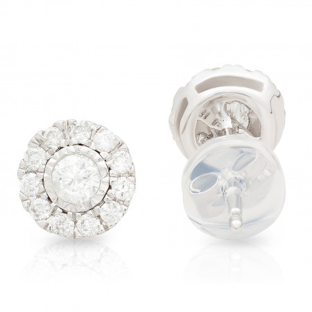 Halo Diamond stud Earring in 18 Karat White Gold