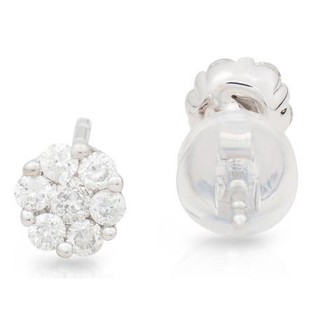 Diamond stud Invisible set in 18 Karat white gold