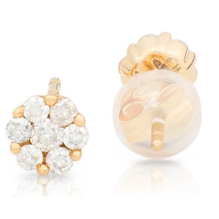 Diamond Stud Earring Invisible set in 18 Karat Gold