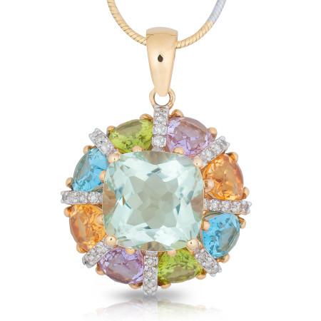 Multi-colour gemstones pendant