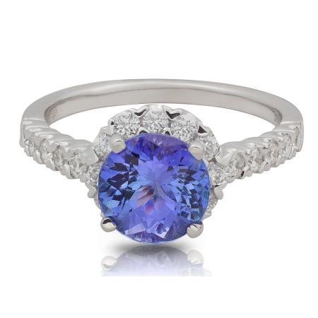 Halo Diamond Tanzanite Ring in 18 Karat White Gold
