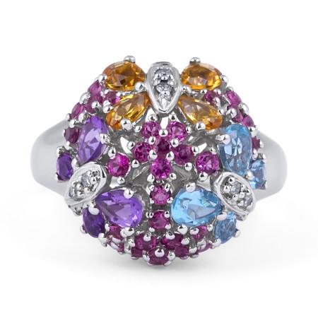 Multi Colour Diamond Gemstone Ring in 14 Karat White Gold