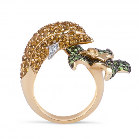 Citrine Tsavorite Diamond Cocktail Ring in Pave Setting
