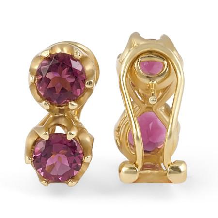 Pink Tourmaline Diamond Earring in 14 Karat White Gold