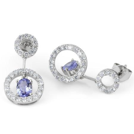 Tanzanite Diamond Earring in 18 Karat White Gold