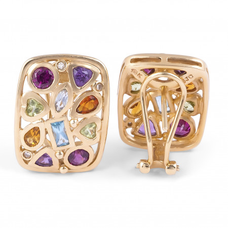 Multi Colour Gemstone Diamond Earring in 14 Karat Yellow Gold