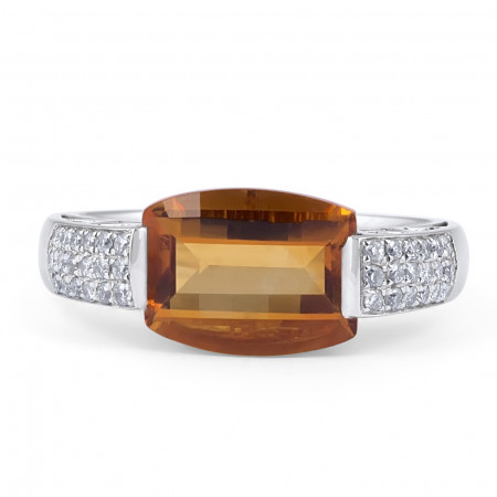 Citrine and Diamond Ring in 18 Karat White gold
