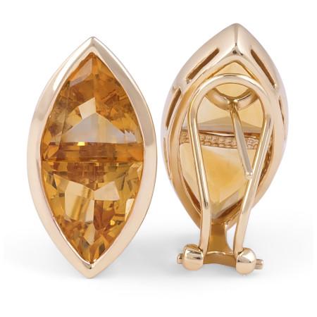 Citrine Earring in 14 Karat Yellow Gold