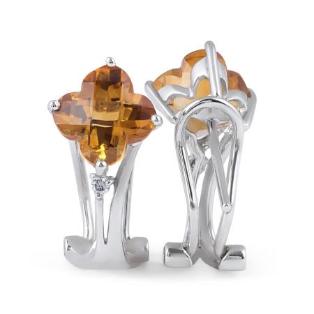 Citrine and Diamond Earring in 18 Karat White gold