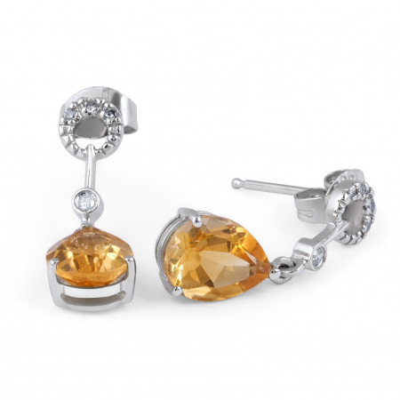 Citrine and Diamond Earring in 14 Karat Yellow gold