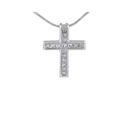 18 Karat White Gold Diamond Cross Pendant Princess Cut
