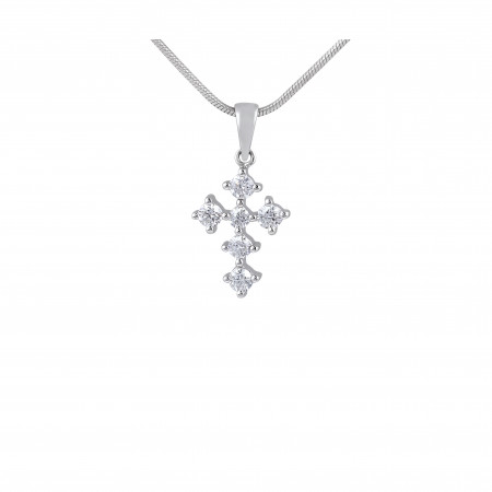 18 Karat White Gold diamond Cross Pendant Pave Setting