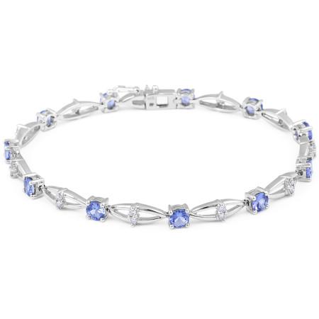 Tanzanite Diamond Bracelet in 14 Karat White Gold