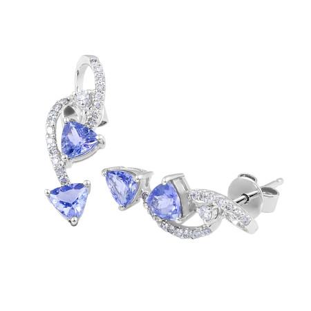 Tanzanite Diamond Stud Earrings in 14 Karat White Gold