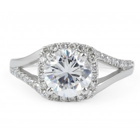 Halo Diamond Engagement Ring In 18 Karat White Gold