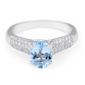 Aquamarine Diamond Engagement Ring in Micro-Pave Setting