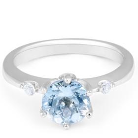 Aquamarine Diamond Ring in Knife Edge Setting