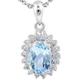 Aquamarine Diamond Halo Pendant in 18 Karat White Gold