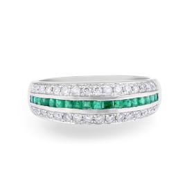 Emerald Diamond Wedding Band in 18 Karat White Gold