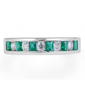Emerald Diamond Band in 18 Karat White Gold