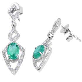 Emerald Diamond Earring in 14 Karat White Gold