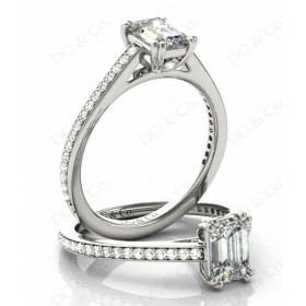 Emerald Cut Four Prongs Diamond Ring with Channel Set Side Stones