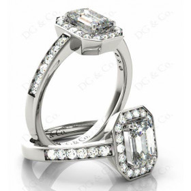 Emerald Cut Halo Diamond Engagement Ring with Claw Set Centre Stone