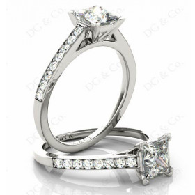 Princes Cut Diamond Engagement Ring with Claw set centre stone