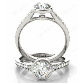 Brilliant Cut Bezel Set Diamond Ring with Pave Set Diamonds Down the Shoulders