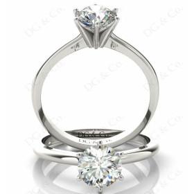 Brilliant Cut Six Claw Set Diamond Ring.