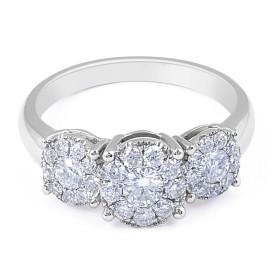 18 Karat White Gold Invisible Set Trilogy Diamond Ring