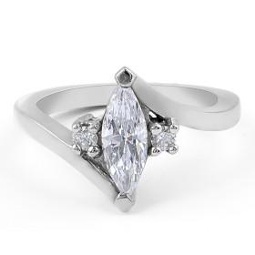Three-stone Diamond Engagement Ring in 18 Karat White Gold