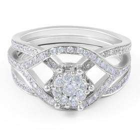 Cluster Diamond Engagement Ring 18 Karat White Gold