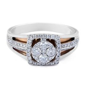 Two Tone Vintage Square Halo Diamond Ring
