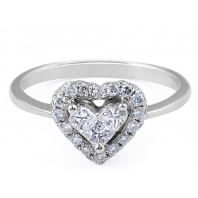 Heart Shape Diamond Ring with fine tapered band Invisible Setting