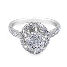 Halo Diamond  Engagement Ring Invisible Setting