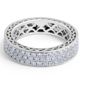 18 Karat White gold Diamond Wedding Band in Micro Setting