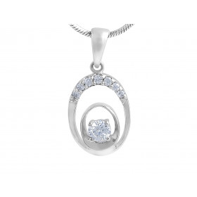 18 Karat White Gold Modern Diamond Pendant