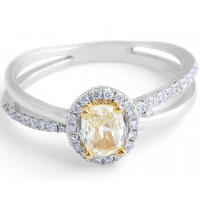 Fancy Yellow Oval  Diamond Halo Ring with Split Bow Shank