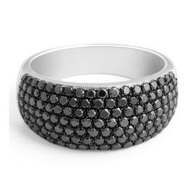 Black Diamond Micro Pave Setting Cocktail Ring in 18 Karat White Gold