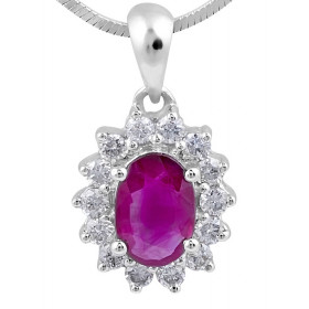 Ruby Diamond Pendant in 18 Karat White Gold