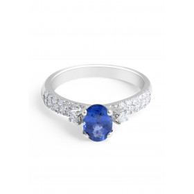 Blue Sapphire Diamond Engagement Ring in 18 Karat White Gold