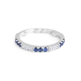 Sapphire Diamond Band in 18 Karat White Gold
