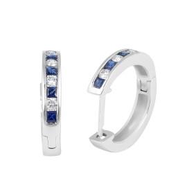 Sapphire Diamond Hoop Earring in 18 Karat White Gold