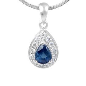 Sapphire Diamond Halo Pendant in 18 Karat White Gold
