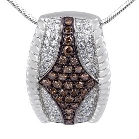 White and Brown Diamond Pendant in 14 Karat White Gold